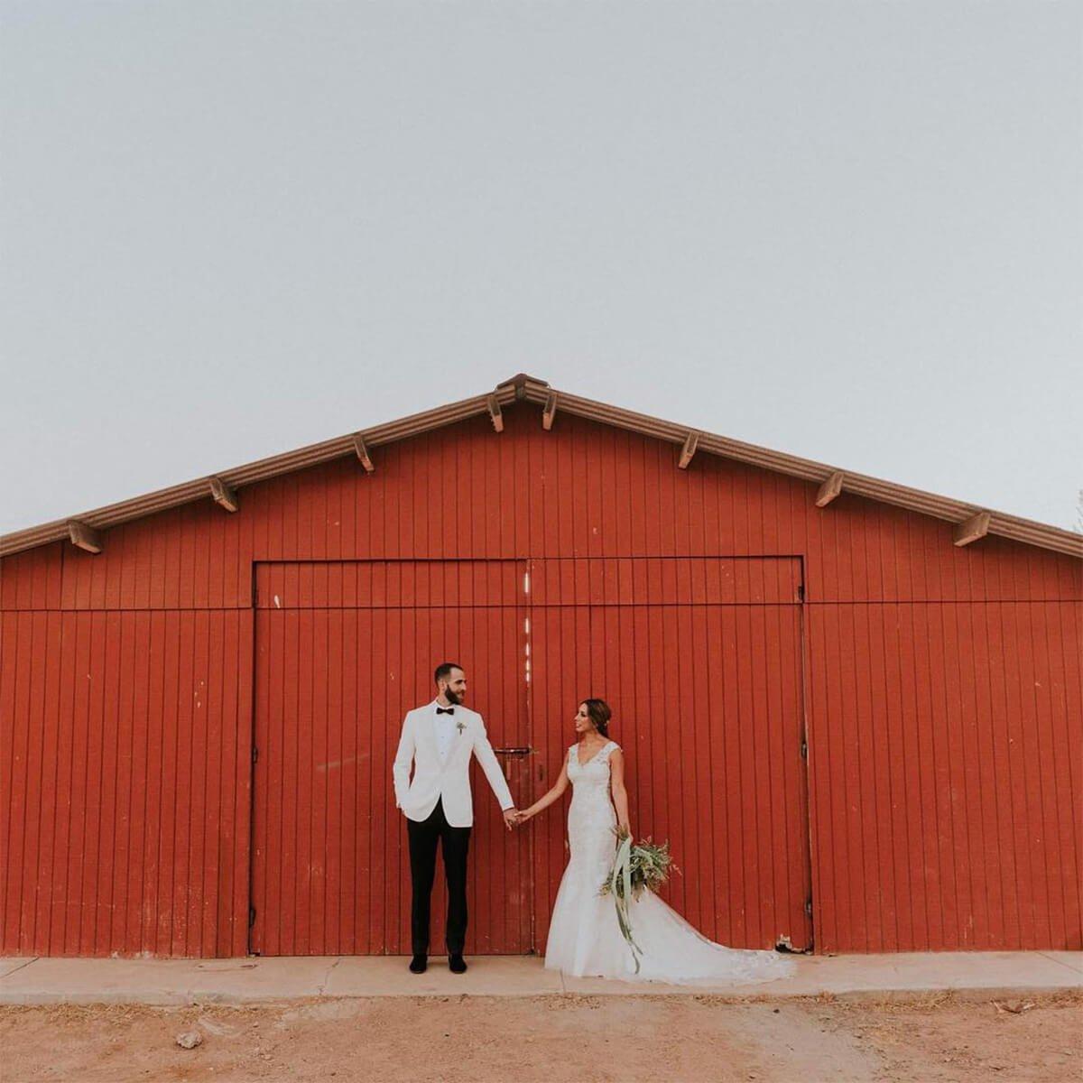 Pareja de recién casados en Bodegas F. Rubio.