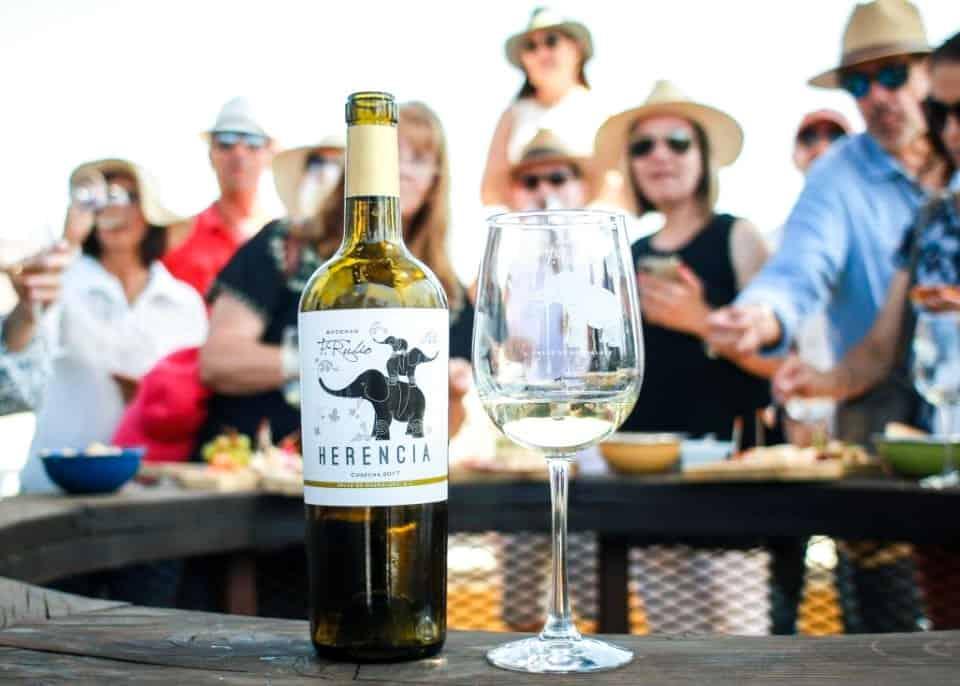 Personas degustando de los vinos y platillos de Bodegas F. Rubio